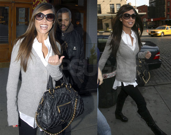 Celebrity Style: Vanessa Minnillo | Marc Jacobs, Steve Madden, Vanessa Minnillo | FabSugar - Fashion & Style. :  fabsugar vanessa minnillo black leggings gray sweater