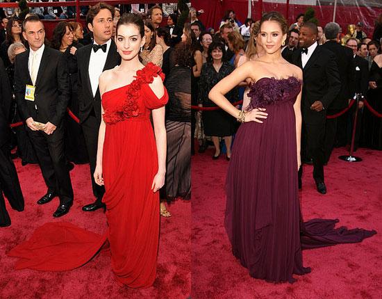 jessica alba gowns. Anne Hathaway and Jessica Alba