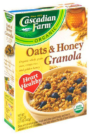 Recently I picked up a box of Oats & Honey Granola made by Cascadian Farm.