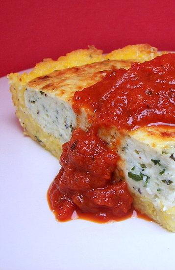 ... polenta pie . The savory ricotta mixture is encased in a polenta crust