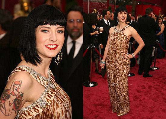 walked the red carpet looking very Bettie Page. Her blunt cut bangs and