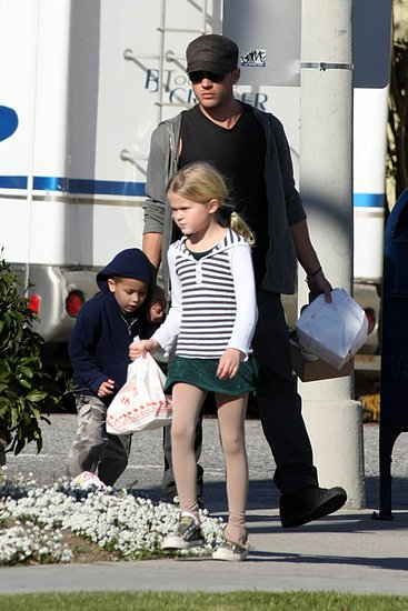 Actor Ryan Phillippe, 33, and children Ava Elizabeth, 8, and Deacon Reese,