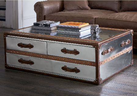 Crave worthy sundance steamer trunk coffee table popsugar home Metal chest coffee table
