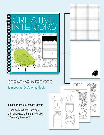 Home Library Creative Interiors Coloring Book