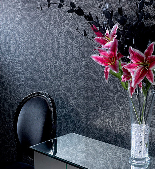 black and white wallpaper pattern. The Graham and Brown wallpaper