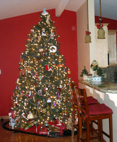 Our tree.  A train runs around the bottom, which means packages are in front of the fire place.