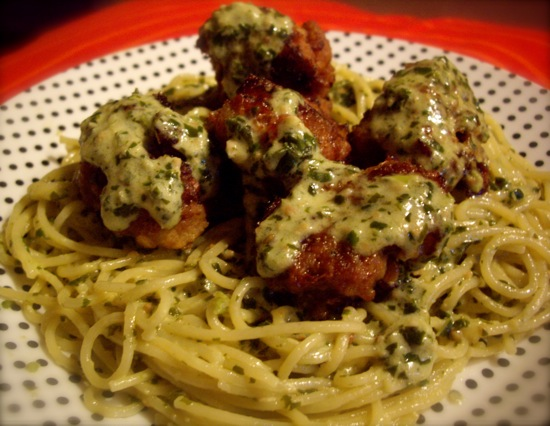 meatballs and spaghetti. Both the pesto and meatballs