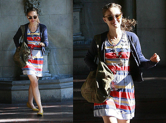 How refreshing to see Natalie Portman in a colorful cool ensemble.