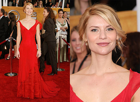 Claire Danes showed up in a red Nina Ricci gown with a deep V bodice and ...