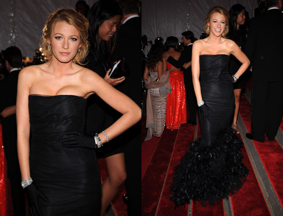 blake lively. An extravagant black Ralph Lauren dress is a new red carpet