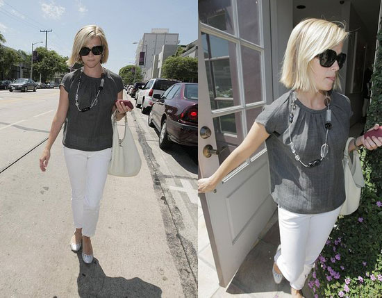 Reese Witherspoon Jeans. White cropped straight jeans