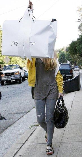 yves saint laurent cabas chyc tote bag - Lindsay Lohan Carrying a Huge Yves Saint Laurent Shopping Bag ...