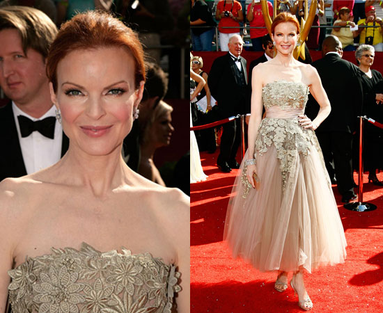 Marcia Cross chose to wear a refreshing ankle length embroidered tulle gown ...