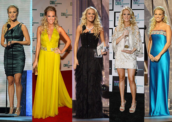 Carrie Underwood was beautiful in the princess styled dress at CMA 2009