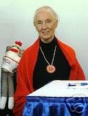 Jane Goodall with Sock Monkey, auctioned on eBay for Scholarship Fund