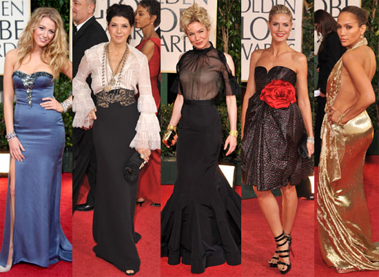 At the Golden Globes last night all shades of winter white and champagne
