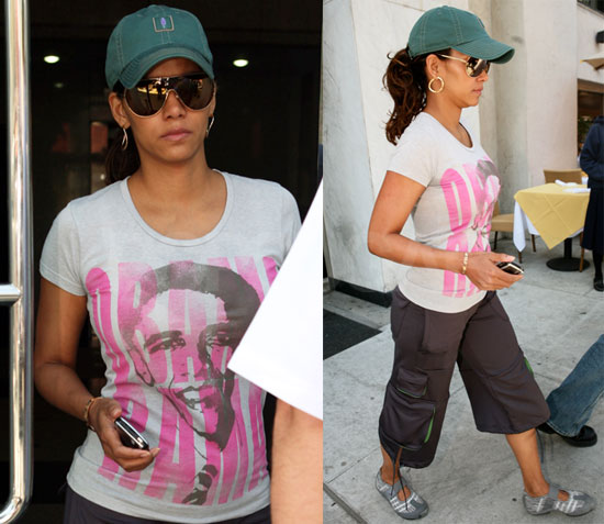Halle Berry wearing a t-shirt