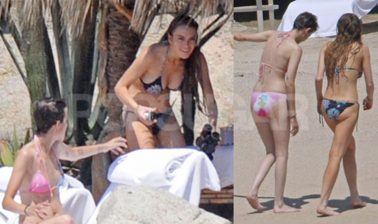 For lots more of Lindsay and Sam on the beach in their bikinis just read ...
