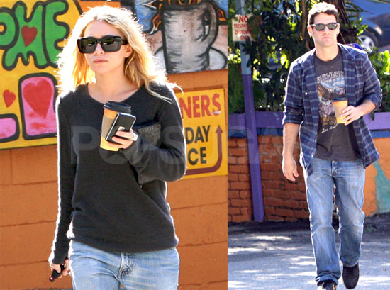 Ashley Olsen out for lunch with Mary Kate and her boyfriend Olivier Sarkozy 128121