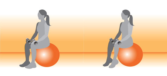 Start by sitting on a stability ball and resting dumbbells on top of thighs.