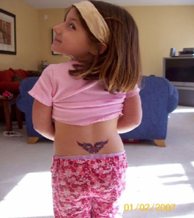 tramp stamp tattoos. in temporary tattoos also!