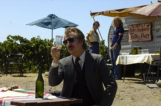 Alan Rickman, as Steven Spurrier, samples Napa wine in what was a not untypical tasting room back then.