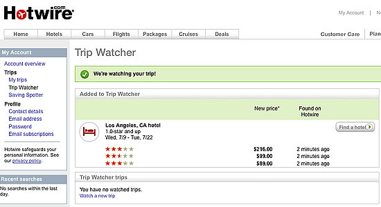 Hotwire's New Trip Watcher Tracks Flight, Car and Hotel Prices ...