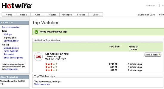 Hotwire's New Trip Watcher Tracks Flight, Car and Hotel ...