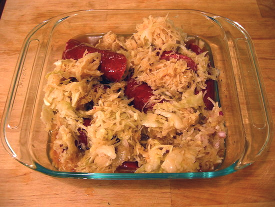 Kielbasa And Sauerkraut. Simple and Hearty Sauerkraut