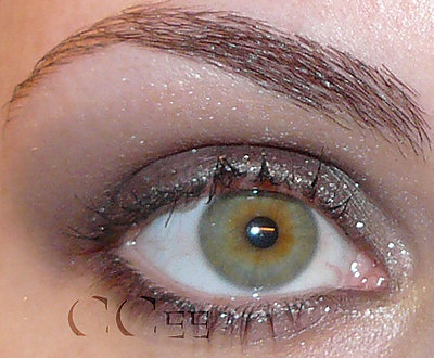 glittery eye makeup. You line your eyes with the