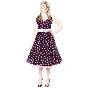 Black and pink polka dots