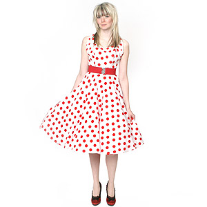 White and red polka dots
