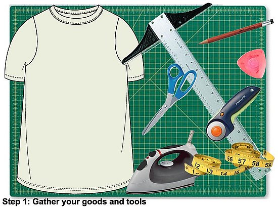 Gather your tools. You will need 1 XXL tee, an iron and ironing board, a measuring tape, a straight edge or t-square, a pencil or tailor's chalk, a pair of scissors or rotary cutter and a cutting mat.