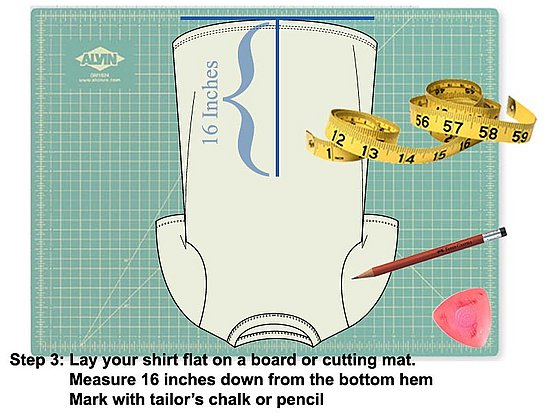"Measure and mark 16"" from the bottom of the hem. Use tailor's chalk or a pencil."