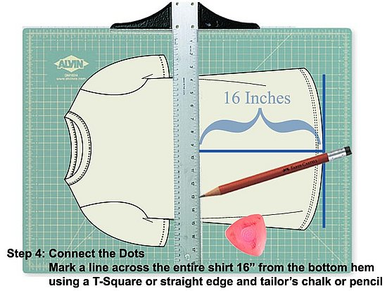 Draw a line with a straight edge at the 16 inch marks you just made.