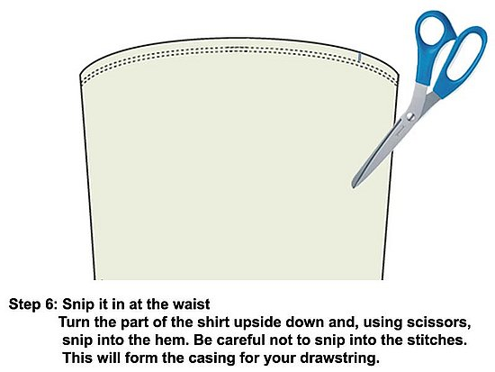 Turn the skirt that you just cut from the body or the shirt hem-side up and snip the hem.