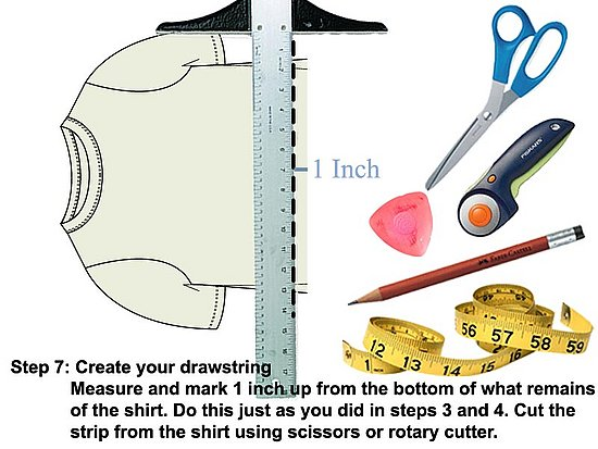 Measure, mark and cut a 1 inch strip from the remainder of the tee shirt.