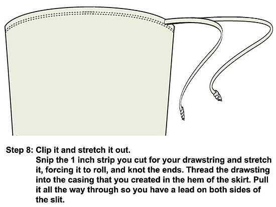 Snip the 1 inch tube. Stretch it and knot it at the ends. Thread the drawstring into the casing.