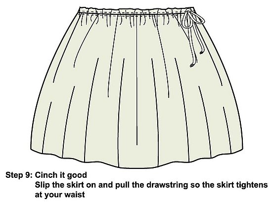 Pull on your skirt and cinch it tight on your waist.