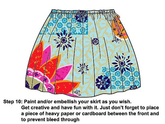 Have fun painting and embellishing your skirt as you wish.