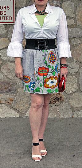 Not Quite Neon full & flirty skirt created from a men's XXL tee shirt