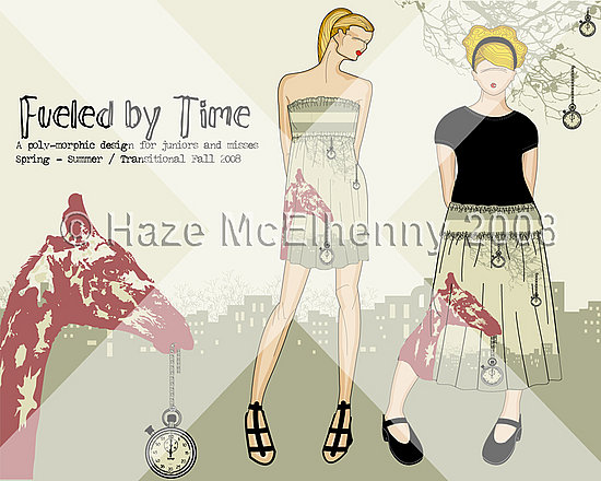 Poly-Morphic Dress/Skirt: Fueled by Time: Croquis and Style Sheet © Haze McElhenny 2008