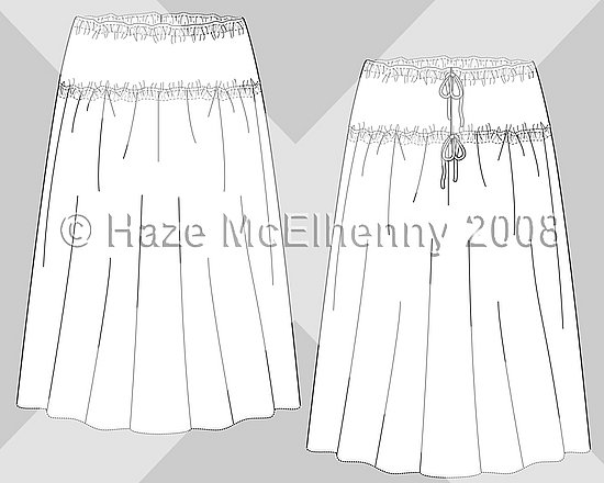 Tie-Back Poly-Morphic Dress/Skirt. Flat sketches & Deisgn © Haze McElhenny 2008