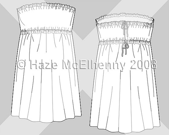 dress designs sketches. Flat sketching like this
