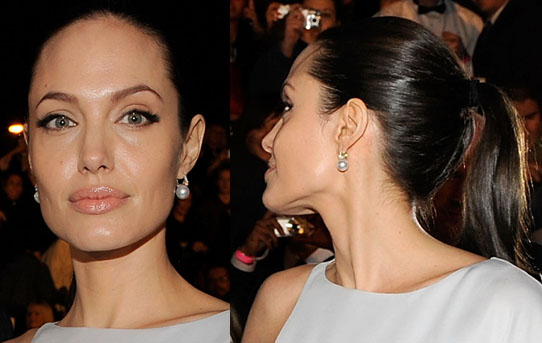 Angelina doesn't stray from her signature look — black eyeliner,