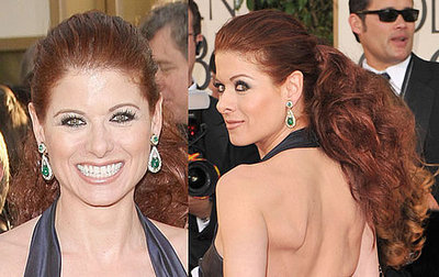 debra messing at the 2009 golden globe awards popsugar beauty. Black Bedroom Furniture Sets. Home Design Ideas