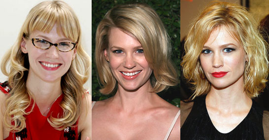 loose curls with heavy, blunt-cut bangs. Which hairstyle do you like the