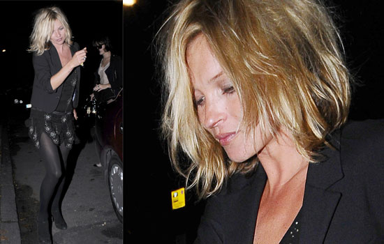 Kate Moss shows off a new hair style in London. Picture: « Previous Next »
