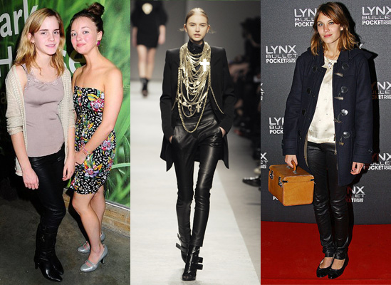 2008 Autumn Trend Leather Trousers on Alexa Chung and Emma Watson