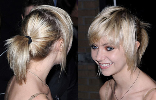 short blonde hair bangs. The blonde actress is working that Upper East Side style with glossy hair